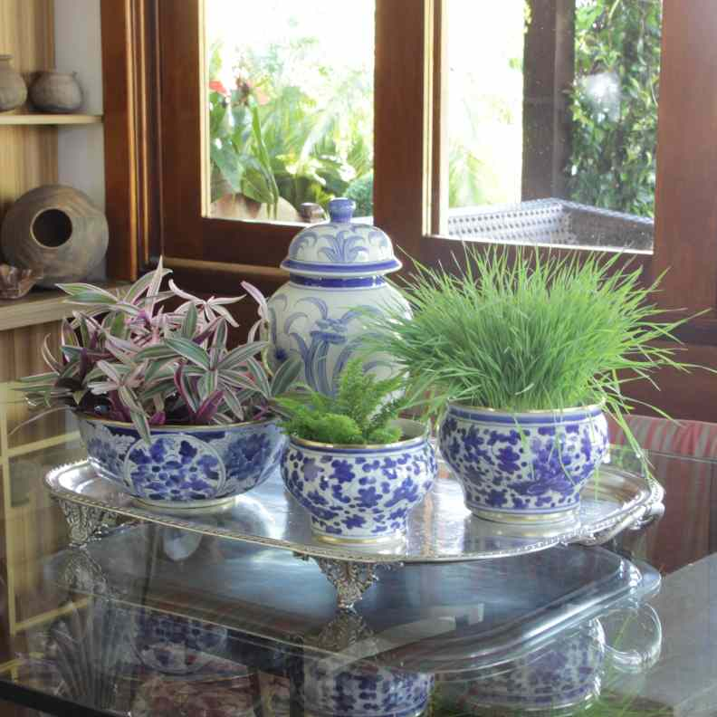 Vasos e Cachepots Dicas de Decoração Dadivária centro de mesa com bandeja porcelana azul