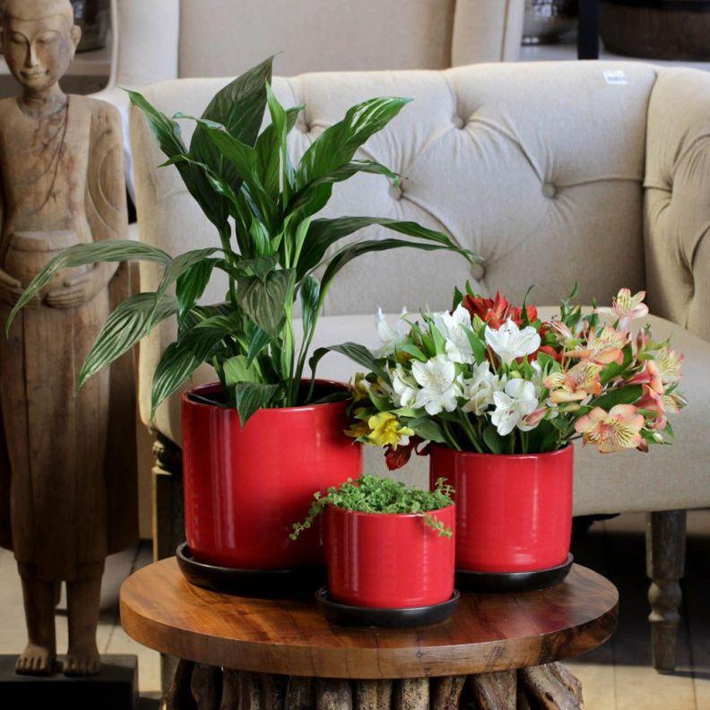 Vasos e Cachepots Dicas de Decoração Dadivária Conjunto de Cachepots de Cerâmica Vermelho
